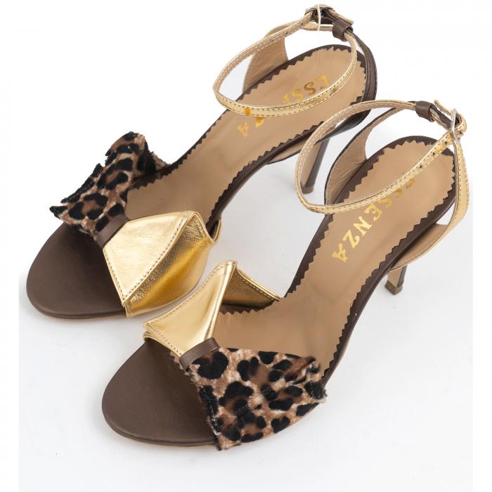 Sandale cu funda, din piele laminata aurie, piele broz sidef si piele de ponei cu animal print [2]