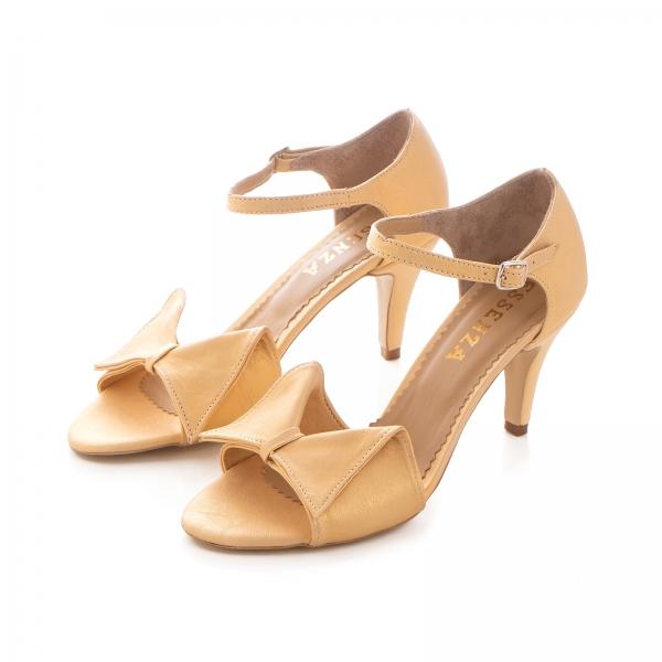 Sandale cu funda, din piele auriu patinat [1]