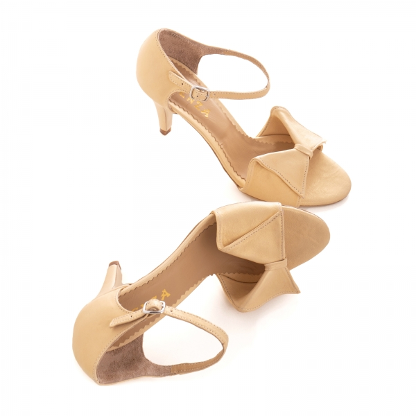 Sandale cu funda, din piele auriu patinat [3]