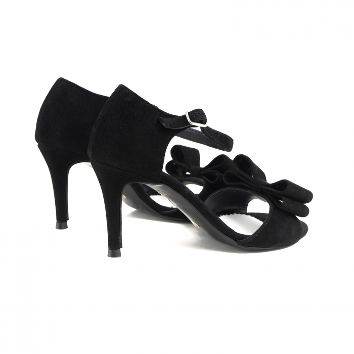 Sandale cu funde duble, din piele intoarsa neagra 2