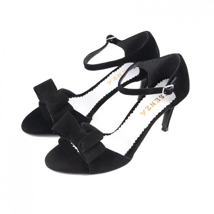 Sandale cu funde duble, din piele intoarsa neagra 1
