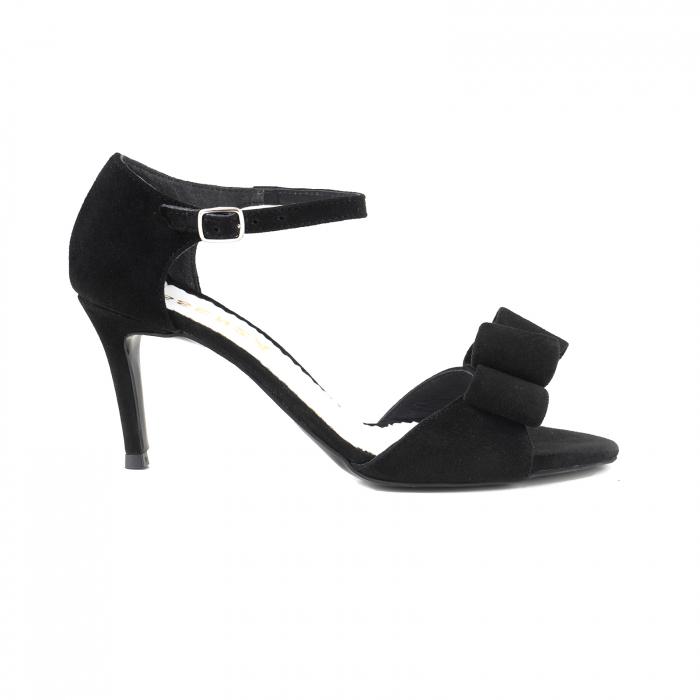 Sandale cu funde duble, din piele intoarsa neagra 0
