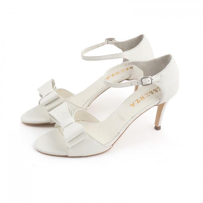 Sandale cu funde duble, din piele naturala alba 1