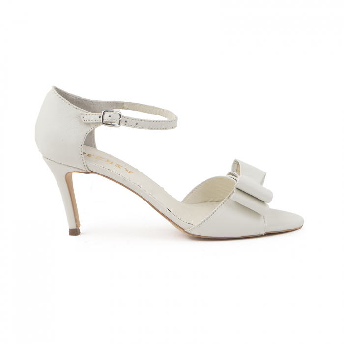 Sandale cu funde duble, din piele naturala alba 0