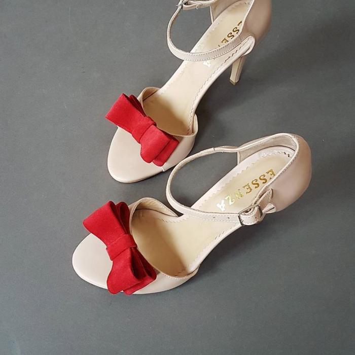Sandale cu funde duble, din piele nude rose si piele intoarsa rosie 0