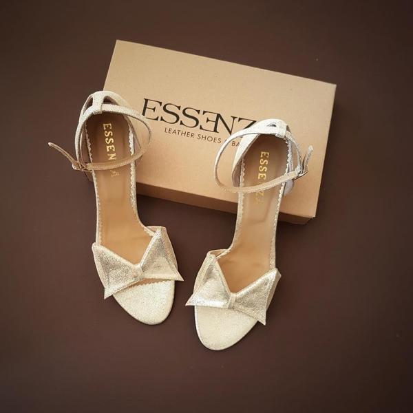 Sandale cu fundita, din piele de culoare argintiu glitter [0]