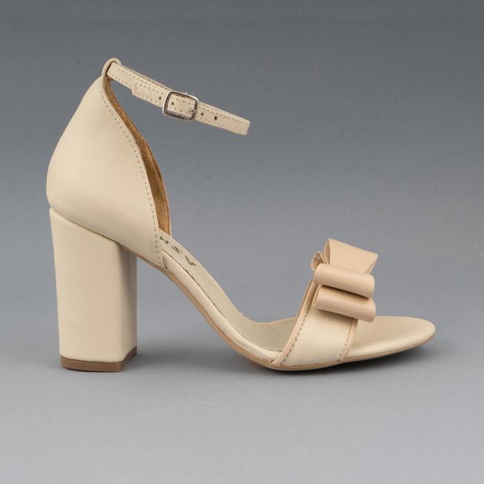 Sandale cu fundita, din piele naturala albastra alb-unt si pielr nude rose 0