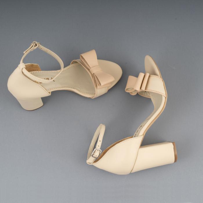 Sandale cu fundita, din piele naturala albastra alb-unt si pielr nude rose 3