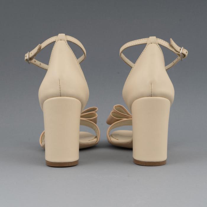 Sandale cu fundita, din piele naturala albastra alb-unt si pielr nude rose 4