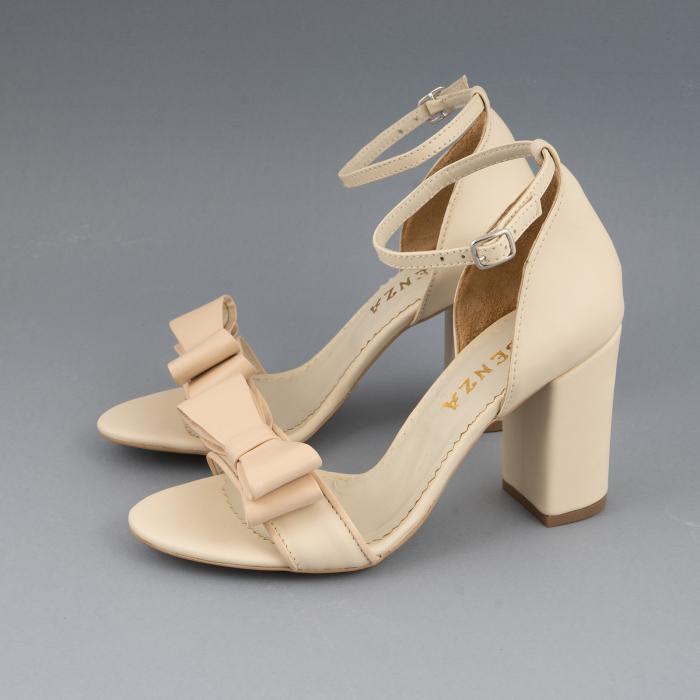 Sandale cu fundita, din piele naturala albastra alb-unt si pielr nude rose 1