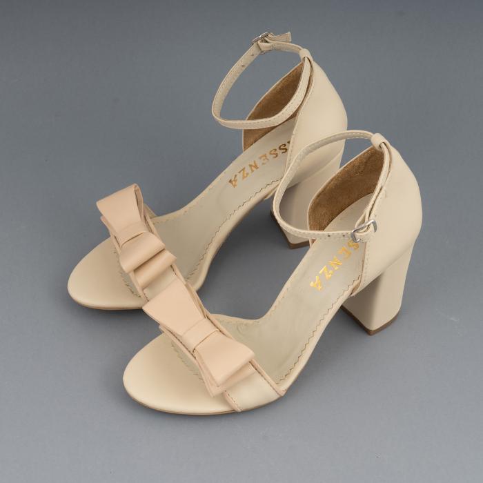 Sandale cu fundita, din piele naturala albastra alb-unt si pielr nude rose 2