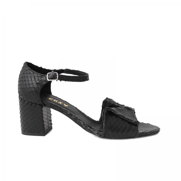 Sandale cu fundita din piele naturala neagra texturata 0