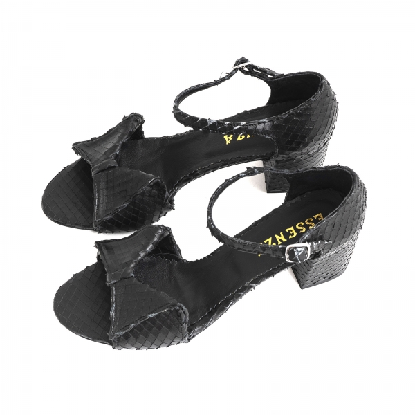 Sandale cu fundita din piele naturala neagra texturata 2
