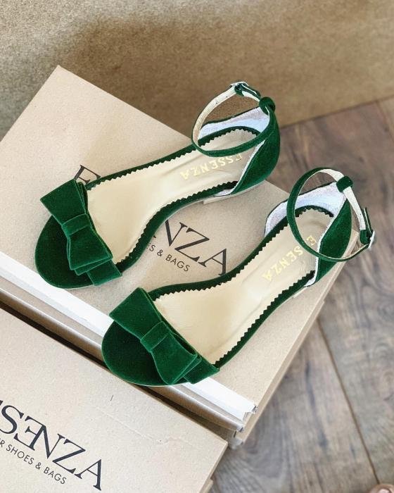 Sandale cu fundite, din din catifea verde, cu captusala din piele naturala [0]