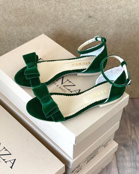 Sandale cu fundite, din din catifea verde, cu captusala din piele naturala [2]