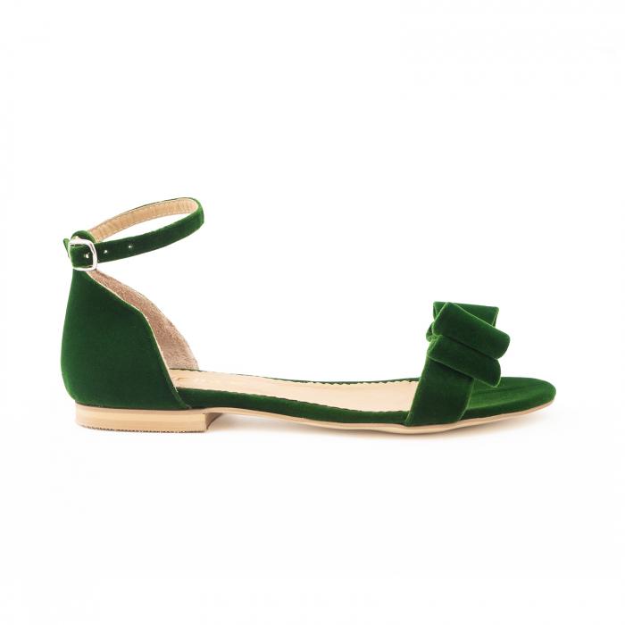 Sandale cu fundite, din din catifea verde, cu captusala din piele naturala 0