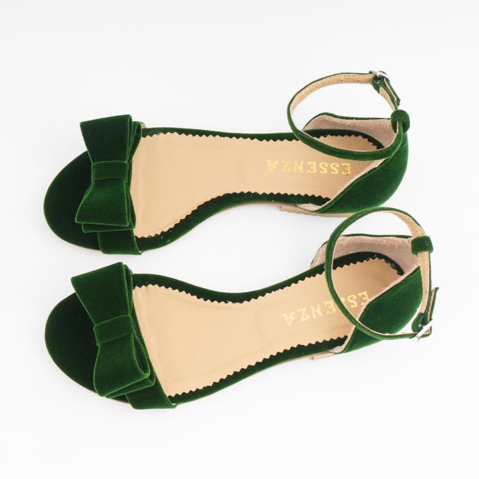 Sandale cu fundite, din din catifea verde, cu captusala din piele naturala 2
