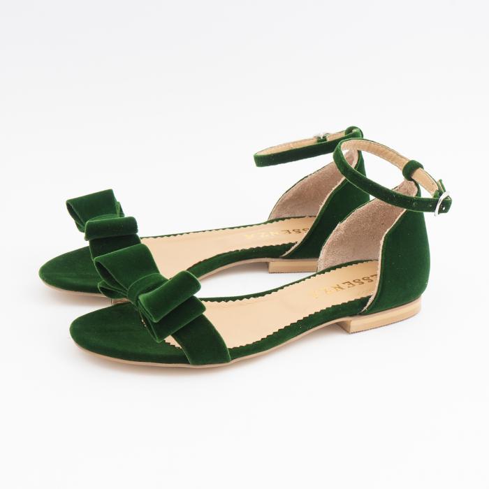 Sandale cu fundite, din din catifea verde, cu captusala din piele naturala 1