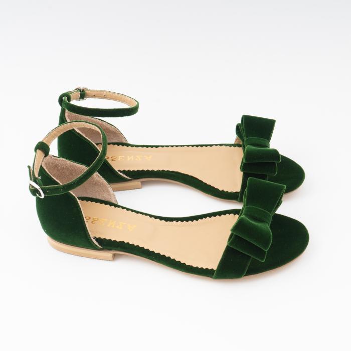 Sandale cu fundite, din din catifea verde, cu captusala din piele naturala 3