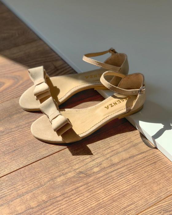 Sandale cu fundite, din piele intoarsa crem [0]