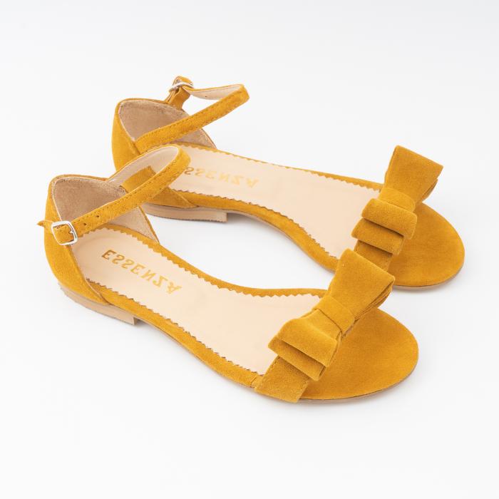 Sandale cu fundite, din piele intoarsa galben -mustar [2]