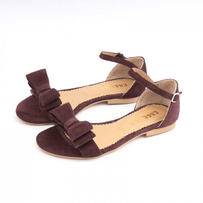 Sandale cu fundite, din piele intoarsa mov-pruna 1