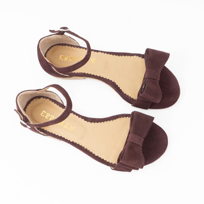 Sandale cu fundite, din piele intoarsa mov-pruna 2