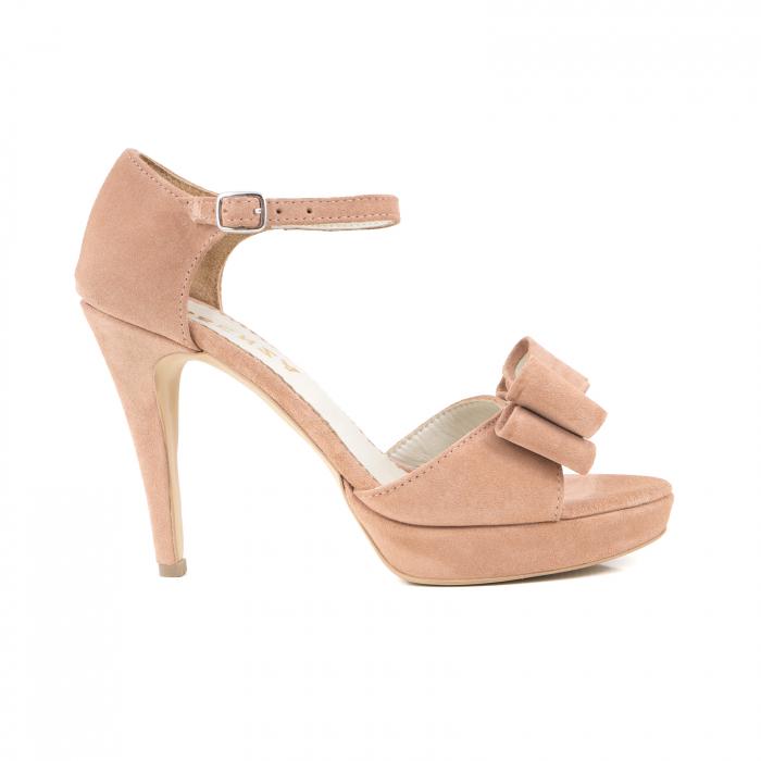 Sandale cu fundite, din piele intoarsa roz somon 0