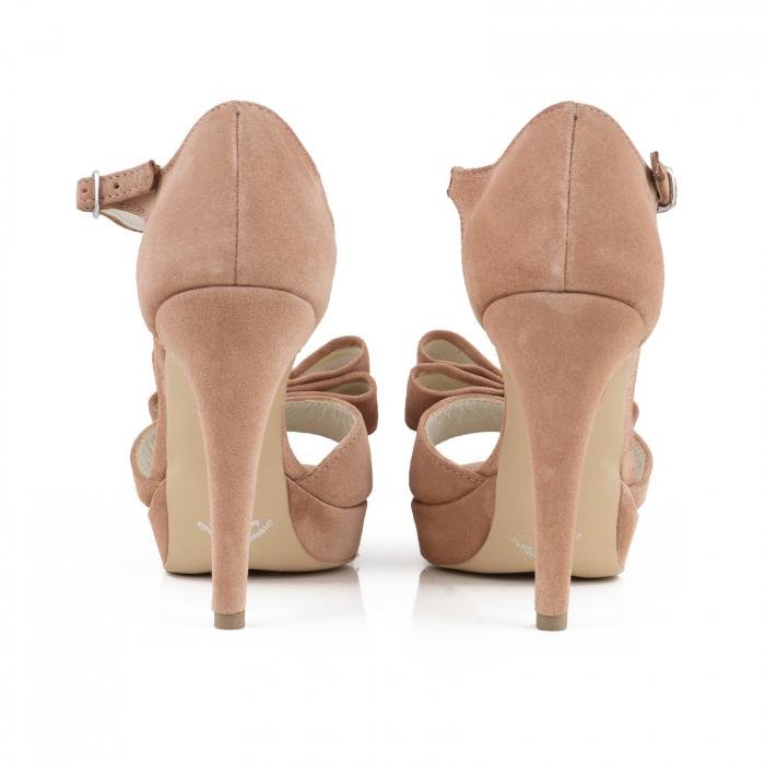 Sandale cu fundite, din piele intoarsa roz somon 3