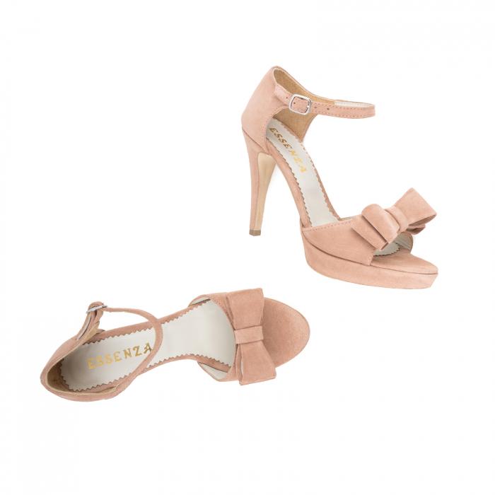Sandale cu fundite, din piele intoarsa roz somon 2