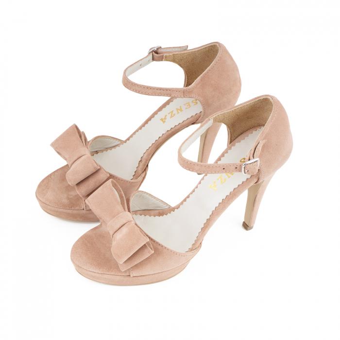 Sandale cu fundite, din piele intoarsa roz somon 1