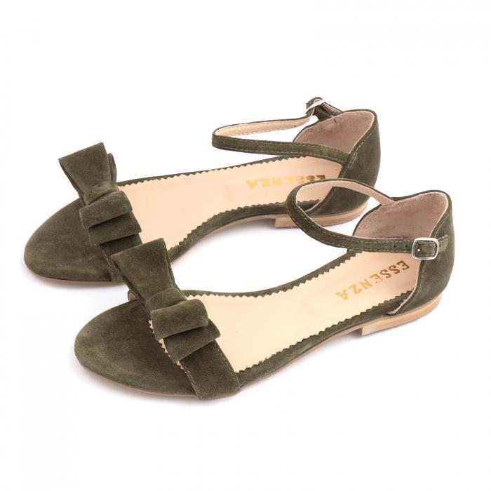 Sandale cu fundite, din piele intoarsa vernil 1