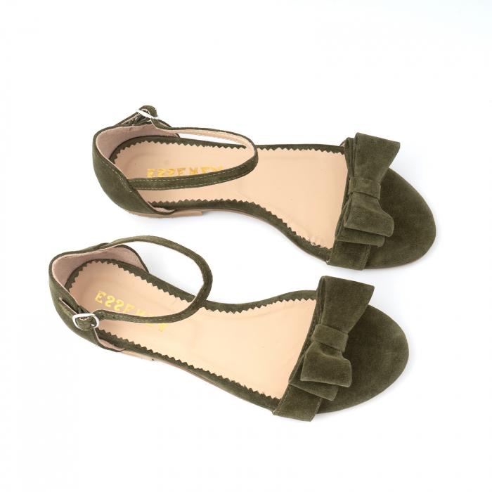 Sandale cu fundite, din piele intoarsa vernil 2