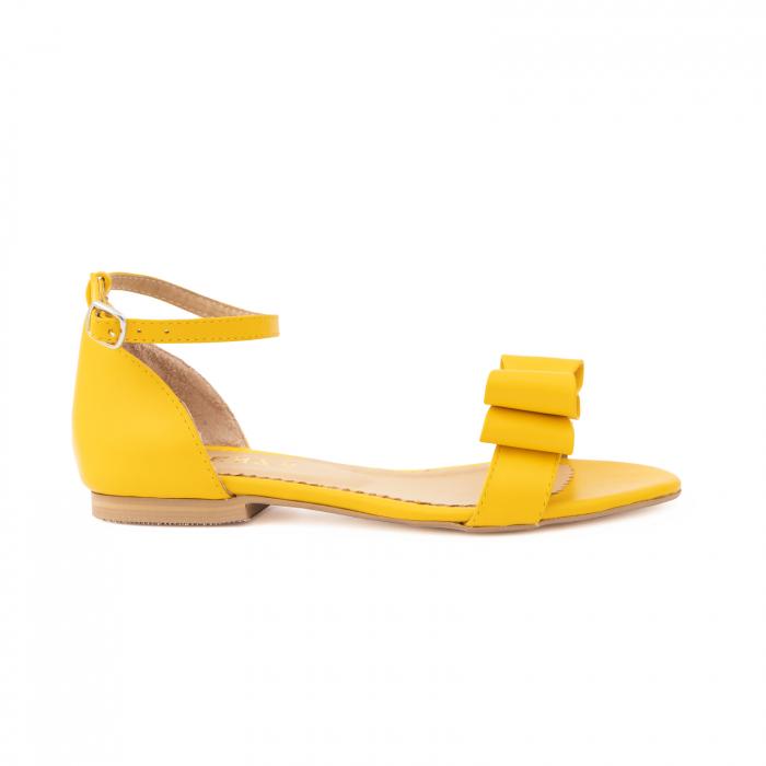 Sandale cu fundite, din piele naturala galbena 0