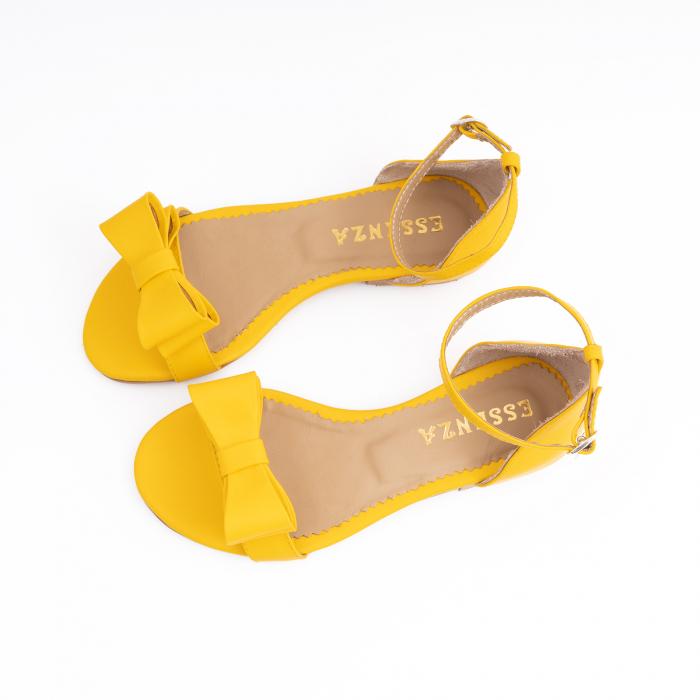 Sandale cu fundite, din piele naturala galbena 2