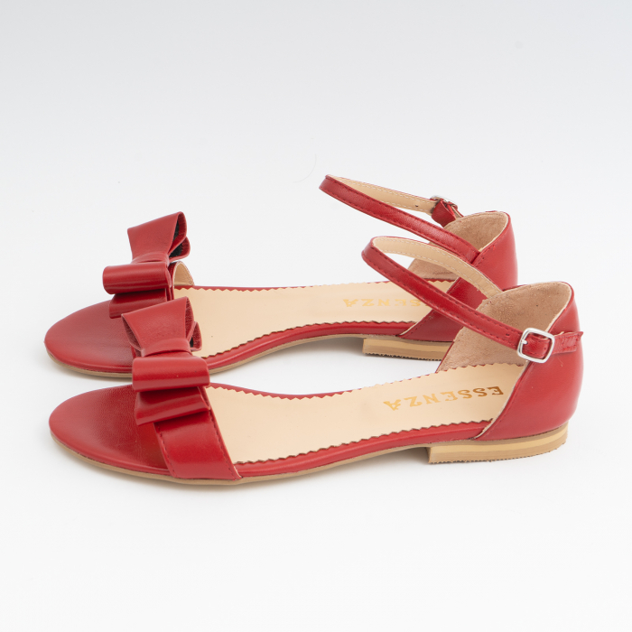 Sandale cu fundite, din piele naturala rosie 1