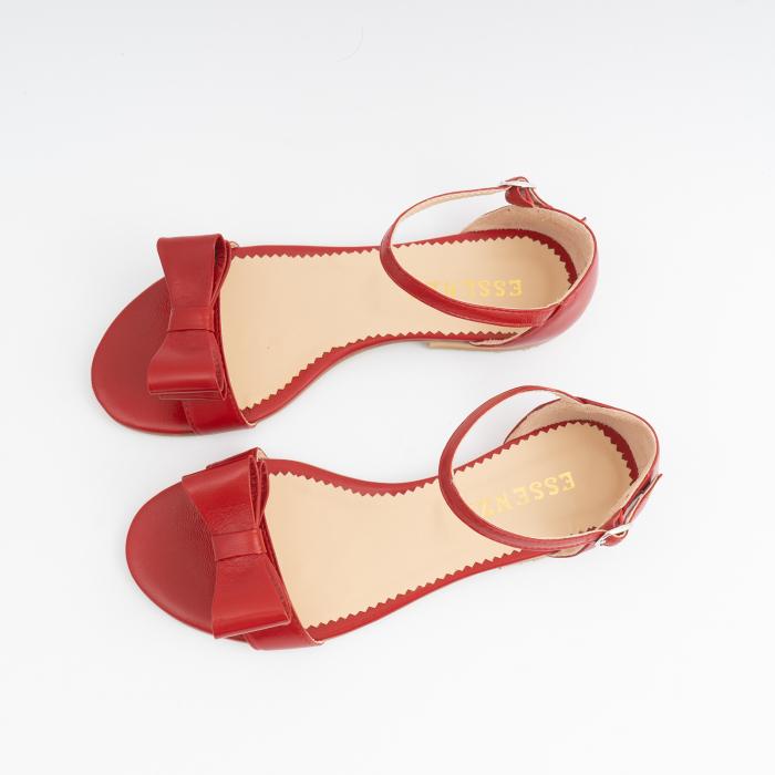 Sandale cu fundite, din piele naturala rosie 2