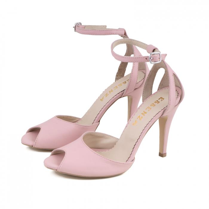 Sandale cu peep toe si staif decupat, din piele naturala roz 1
