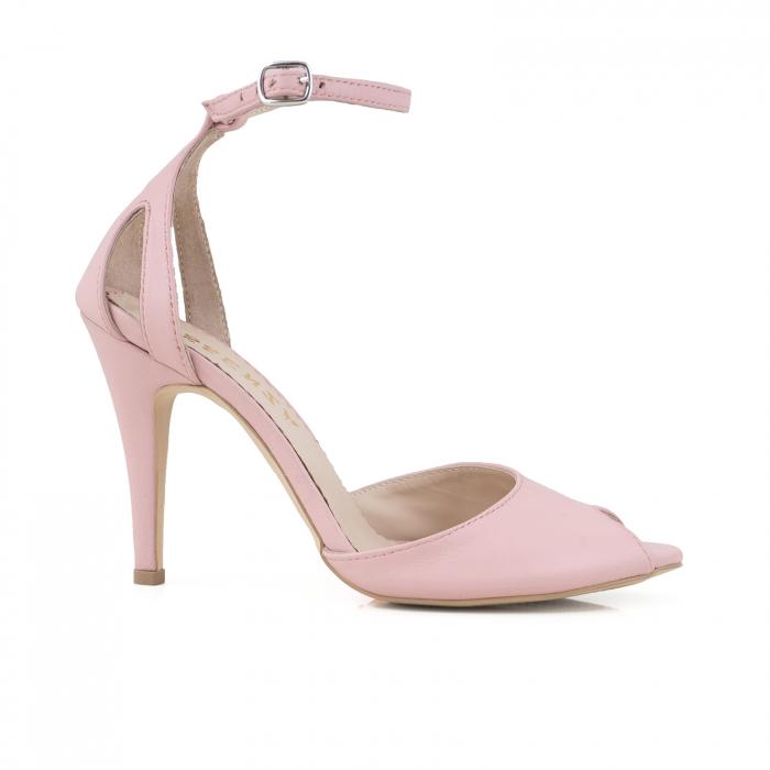 Sandale cu peep toe si staif decupat, din piele naturala roz 0