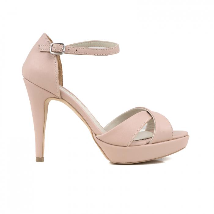 Sandale cu platforma, din piele naturala roz 0