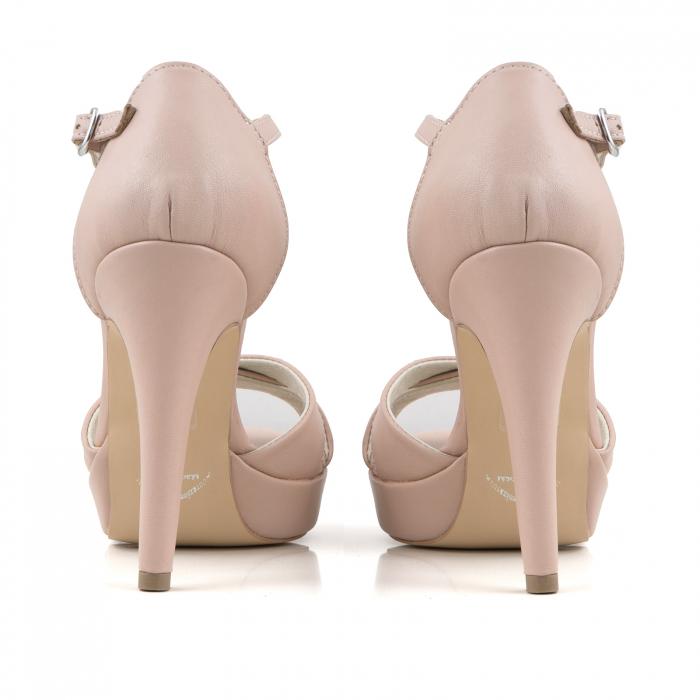 Sandale cu platforma, din piele naturala roz 3