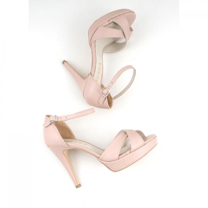 Sandale cu platforma, din piele naturala roz 2