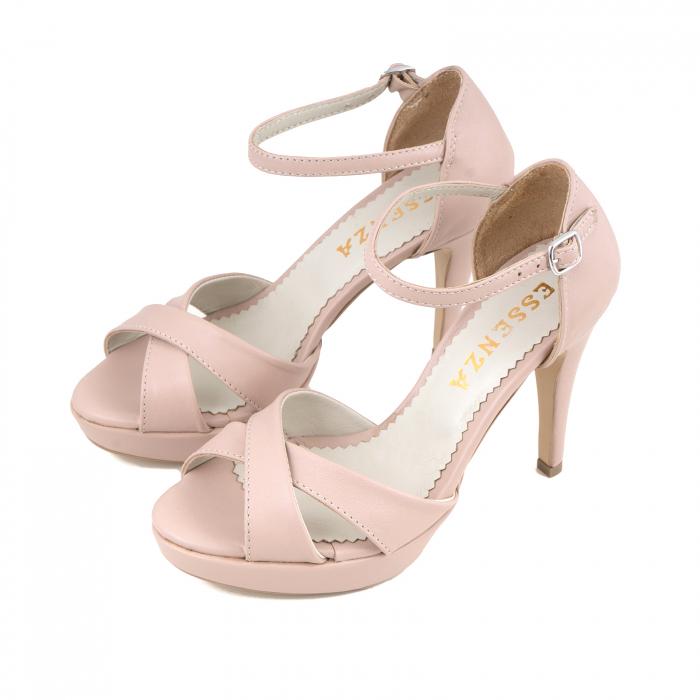 Sandale cu platforma, din piele naturala roz 1