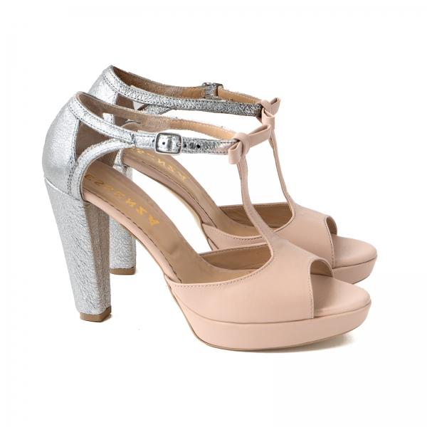 Sandale cu platforma si toc gros, din piele nude-roze si piele laminata argintie [1]