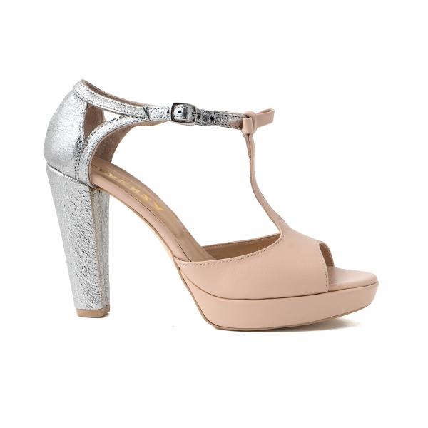 Sandale cu platforma si toc gros, din piele nude-roze si piele laminata argintie 0