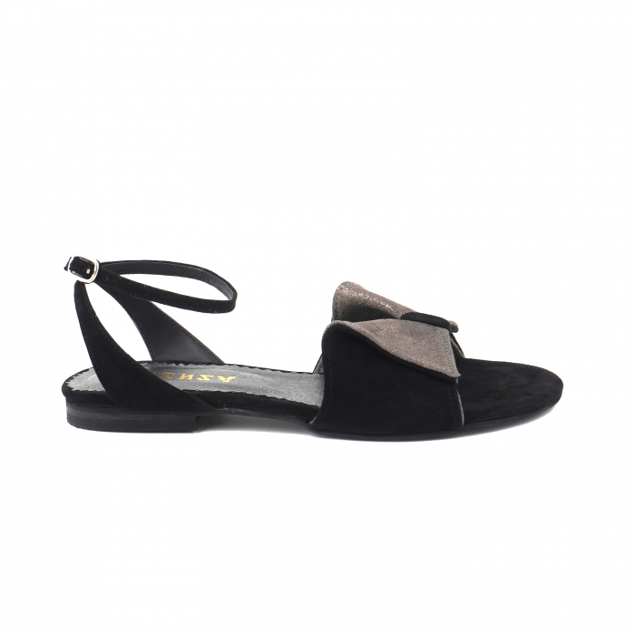 Sandale cu talpă joasă, din piele intoarsa neagra si piele gri glitter 0
