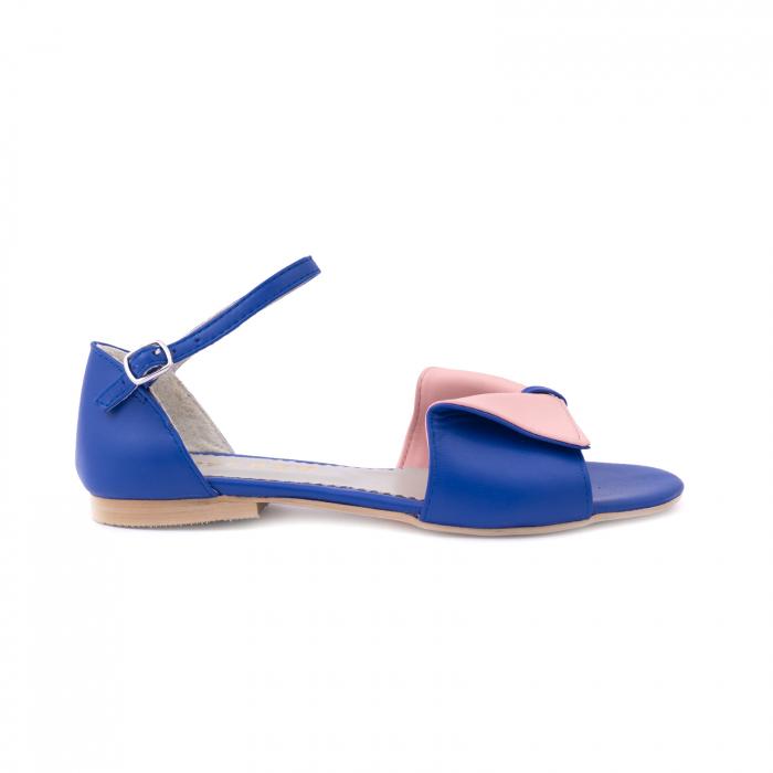 Sandale cu talpă joasă, din piele naturala albastra si roz. 0