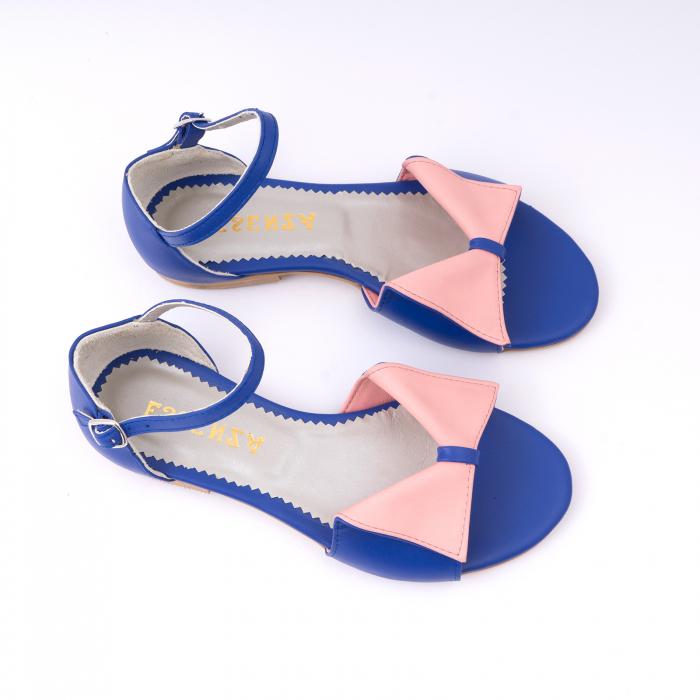 Sandale cu talpă joasă, din piele naturala albastra si roz. 2