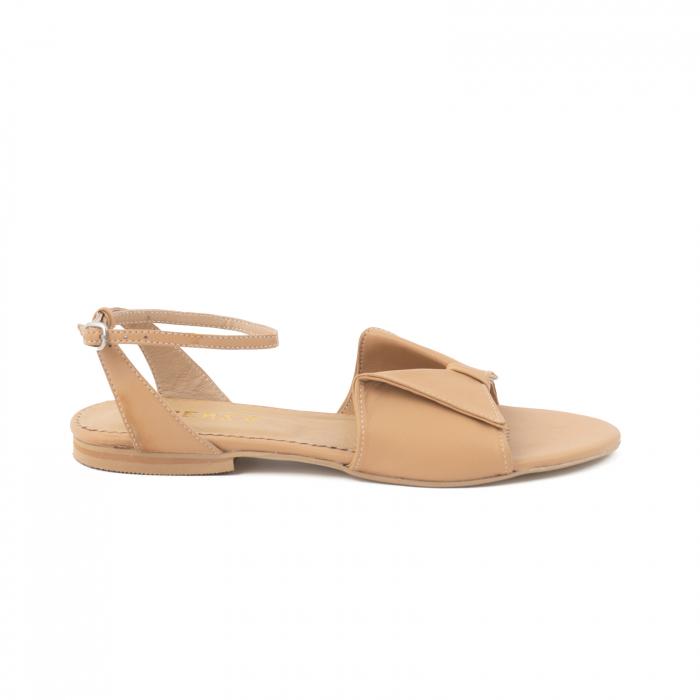 Sandale cu talpă joasă, din piele naturala beige 0