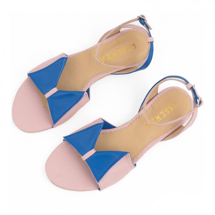Sandale cu talpă joasă, din piele naturala roz si albastra 2